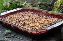 CRUMBLE plum fruit dish outside